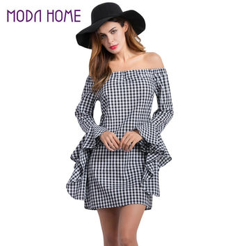 Fall Women Off The Shoulder Dress Plaid Pattern Slash Neck Irregular Flare Sleeves Mini Dress Black Tunique  SM6