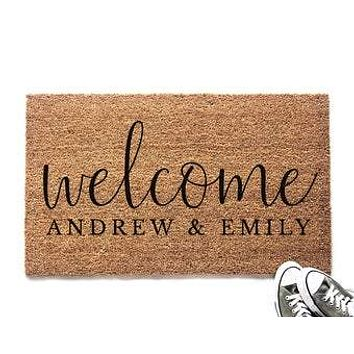 Personalized Welcome with Couple's Names Doormat