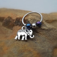 Elephant Cartilage Earring with Purple Blue Bead Captive Hoop Body Jewelry 18ga 16ga