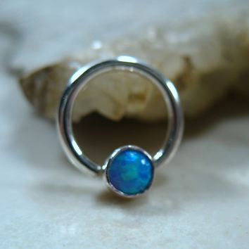 Septum & Nipple Ring Silver MMS26 Blue Fire Opal