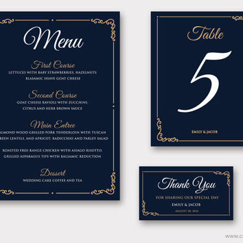 Printable Wedding Menu, Classic Wedding Table Numbers, Printable favor tags, Traditional Wedding Reception, Customizable Colors