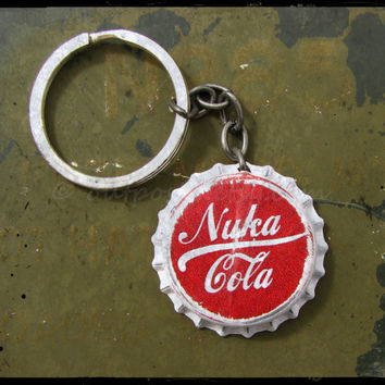 Fallout inspired Nuka Cola Classic bottle cap keychain. The original. Featured in EGM. CIJ sale.