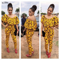 Sexy off shoulder ruffles detail yellow printed skinny jumpsuit fashion summer slash neck african party jumpsuit for women
