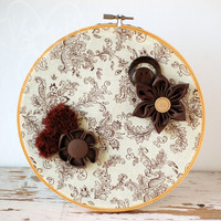 Brown Beauty handmade flower hoop art from VioletsBuds