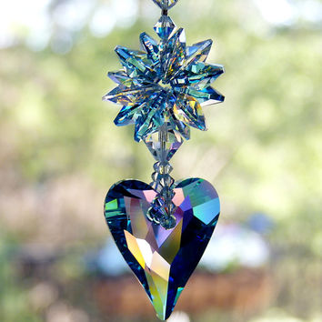 m/w Swarovski Crystal Limited Edition RARE 37mm Aurora Borealis Aquamarine Wild Heart Suncatcher Aqua and AB Star by Top Lilli Heart Designs
