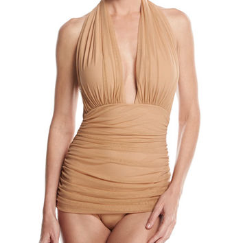 Norma Kamali Bill Ruched-Mesh Halter Maillot Swimsuit, Camel