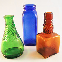 Small Old Bottle Trio, Green, Cobalt, Brown