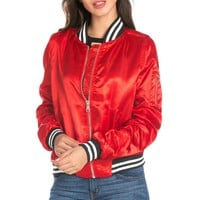 Red Satin Varsity Bomber Jacket
