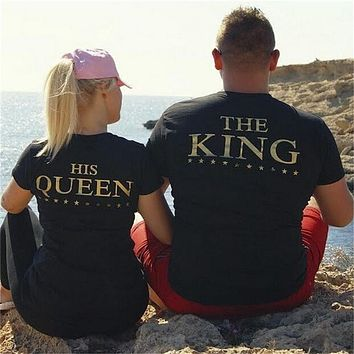 Couples Matching Tee's The King His Queen Back Printed T shirt