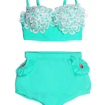 Mint Daisy High waist waisted rise Pin up Pin-up Bikini Swimsuit Bathing suit Swimwear Bikinis set Swimsuits Swim Bath Beach wear Swimwear L