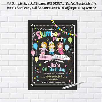 Slumber Party invitation,  sleepover invitation,  Pajamas Invitation , spa Salon sleepover,  kids 6th 7th 8th 9th girl birthday - card 897