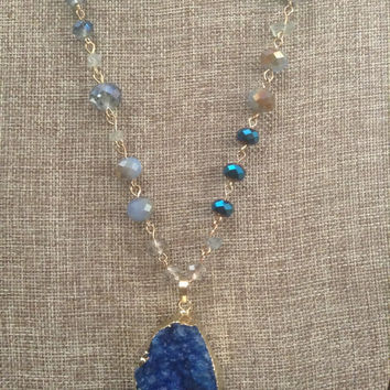 Beaded Chain Blue Druzy Necklace Blue Crystal Bead Chain Gold tone Blue Colored Natural Druzy Pendant