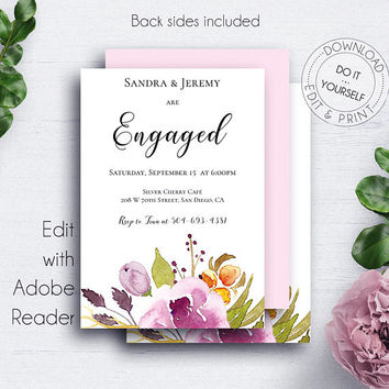 Engaged Floral Invitation, Engagement Party, Printable Engagement, Engaged Announcement,Engagement Ideas,Wedding Printable,Marsala and Blush