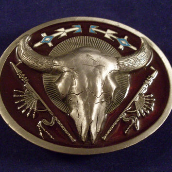 Vintage Longhorn Skull Pewter Belt Buckle by C&J 1991
