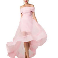 Rachel High Low Chiffon Off Shoulder Dress