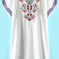 White V-Neckline Short Sleeve Tribal Embroidered Tunic Dress