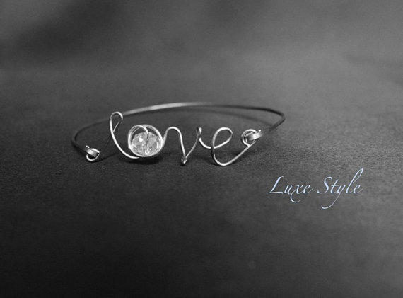 Sterling Silver Love Bracelet Gifts for her with Glass Beads handmade Modern Jewelry Luxe Style