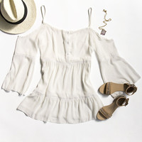 White Chiffon Off Shoulder Boho Dress