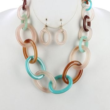 Lucite Chunky Link Chain Necklace Set