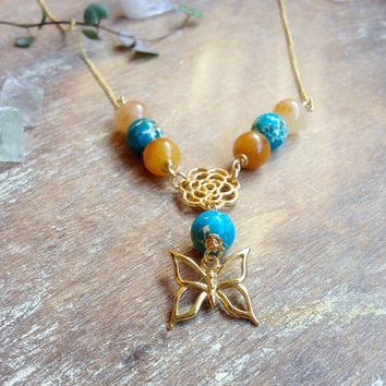 Butterfly Gold Necklace. Honey Jade Blue Jasper gemstone necklace. 14k Gold Filled chain. Bohemian flower butterfly Gemstone necklace