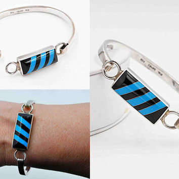 Vintage Taxco Sterling Silver Bangle Bracelet, Inlaid Enamel, Diagonal, Blue & Black, Mexico, Chunky, 29.9 Grams, Beautiful!! #c359