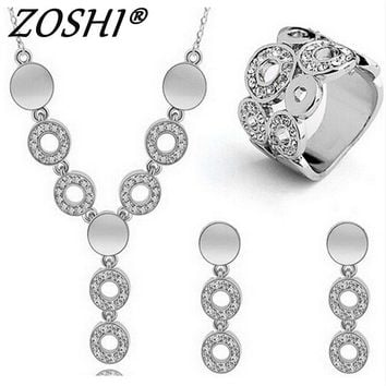 Austrian Crystal Gold/Silver Plated Set For Women Cat's Eye Stones Jewellery necklace & earrings
