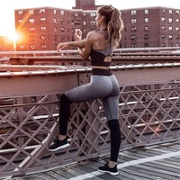 Athletic Activewear Set Fitness Sport Suit Women Yoga Set Fitness Wear Yoga Shirt Top Joga Pants High Waist Leggings Gym Leggins