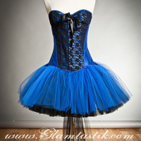 Size small black and royal blue lace burlesque by Glamtastik