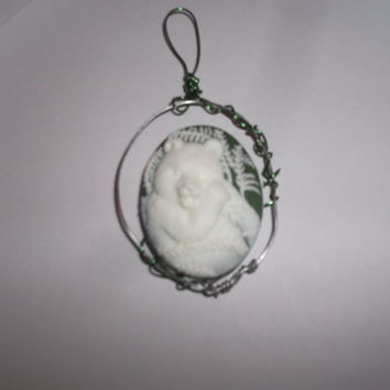 Panda Bear Cabochon Wire Wrapped Green Christmas Ornament or Pendant Free Shipping Animal Nature Lover