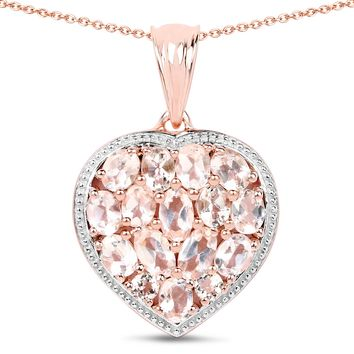 12.81ct Genuine Pink Chalcedony and Morganite 14kt Rose Gold-Plated .925 Sterling Silver Pendant