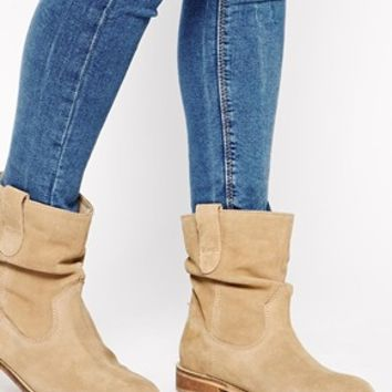 ASOS ALOOF Suede Pull On Ankle Boots at asos.com