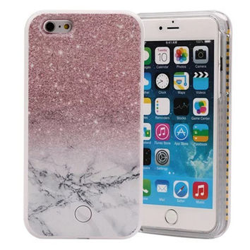 LED Flash Light Up Selfie Phone Case For iPhone 6 6s 6Plus 5s 5 5SE Luxury Printing Flower Case Lighting Back Cover Shell  M18