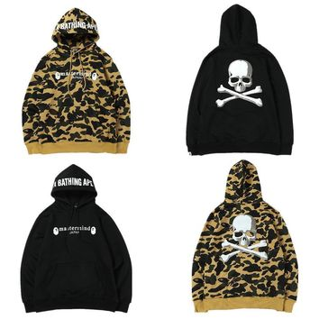 ca spbest Men's Hot Camo Bape Black A Bathing APE Skull Hoodie
