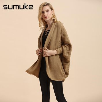 Sumuke Autumn/Winter Causal Loose Long Sleeve Solid Woven Long Ribbed sweater No Button Knit Acrylic Women Sexy Cardigan Sweater