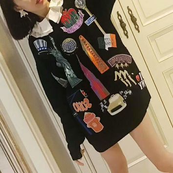 Fashion Long Sleeve Round Neck Medium long Pullover Sweater Sweatshirt G-G-JGYF