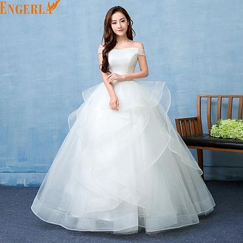 Vestido De Noiva Boat Neck Simple And Elegent Princess Belt Wedding Dresses Tulle Bridal Ball Gowns Bride Dresses