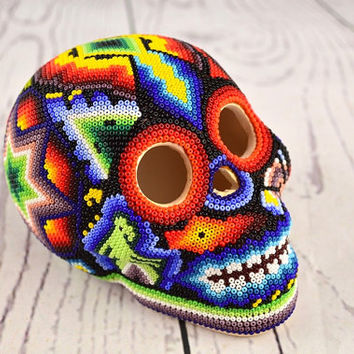 H371 Skull Huichol Mexican Folk Art Shipping From Mexico Peyote