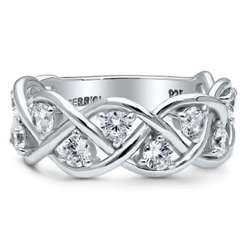 Sterling Silver CZ Half Eternity Ring