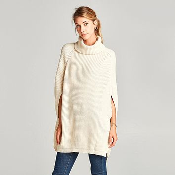 Classic Cable Knit Cape Sweater