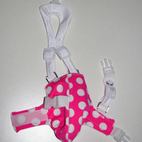 S White/Hot Pink Polka Dots REMNANT Open-Tail  Diaper Harness, for pet Ducks, Geese, and Chickens