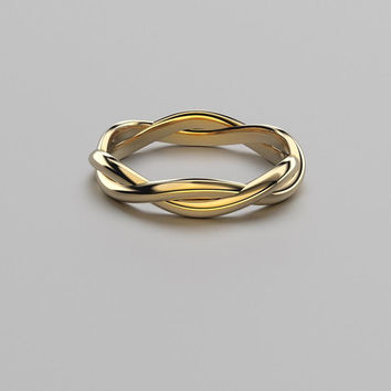 Gold Twist Ring - 14k, 18k White, Rose, Yellow Gold & Platinum. Solid Gold Twisted Vine Ring. Minimal, Organic Jewelry. Unique Wedding Band
