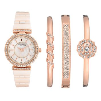 Anne Klein New York Rose Gold Tone Ceramic Watch and Bangle Set