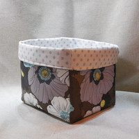 Gorgeous Gray, Blue and White Floral Fabric Basket With Gray and White Polka Dot Liner