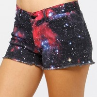 Galaxy Print Frayed Shorts @ Cicihot Pants Online Store: sexy pants,sexy club wear,women's leather pants, hot pants,tight pants,sweat pants,white pants,black pants,baggy pants