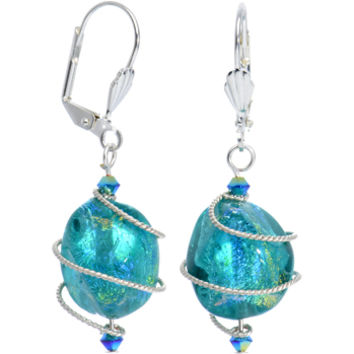 Aqua Dichroic Glass Dangle Earrings MADE WITH SWAROVSKI ELEMENTS | Body Candy Body Jewelry