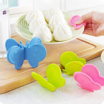 Butterfly creative kitchen silicone insulation against hot plate clip With magnet taken oven thickened protect hands take bowl