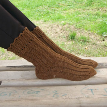 Winter Trends Wool Slippers, Brown Comfy Slippers, Handknitted Slippers, Leg Warmers, Mukluk