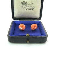 Carved Coral Earrings 14K Gold Posts Salmon Pink Rose Flower Studs 11mm Natural 3D Gemstones Vintage 50's 60's Mid Century Fine Jewelry
