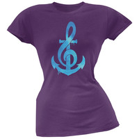 Anchor Clef Purple Soft Juniors T-Shirt