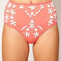 ASOS Embellished High Waisted Bikini Pant at asos.com